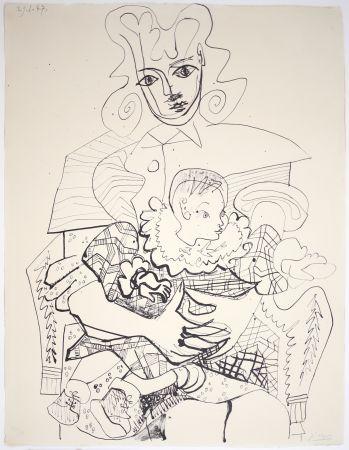 リトグラフ Picasso - Ines Et Son Enfant