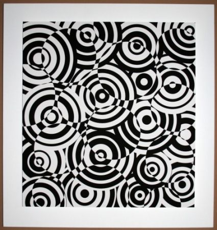 木版 Asis - Interferences cercles noir et blanc