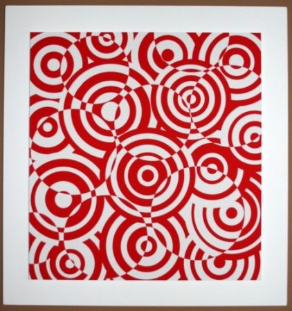 木版 Asis - Interferences cercles rouge et blanc