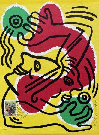 リトグラフ Haring - : International Volunteer Day 1988 - RARE VARIENT