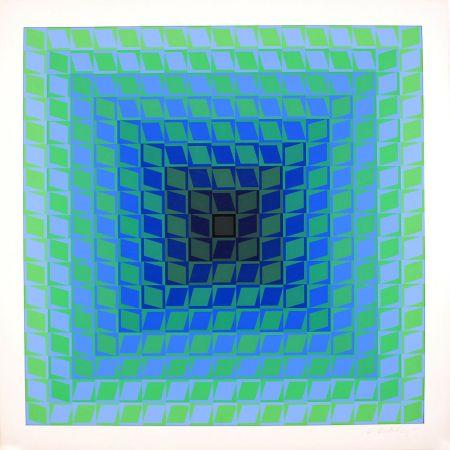 シルクスクリーン Vasarely - Ix Positif - Quasar