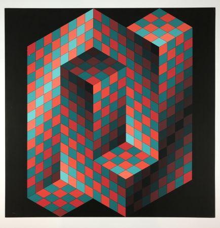 リトグラフ Vasarely - Izzo-Rouge-Vert