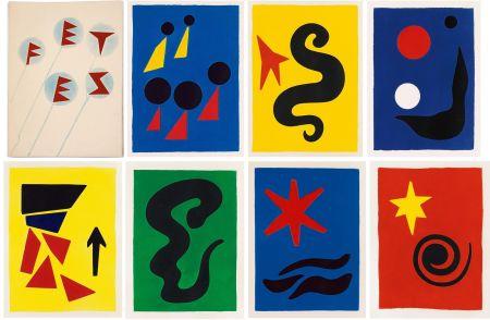 挿絵入り本 Calder - J. Prévert : FÊTES. 7 aquatintes originales de Calder (1971)