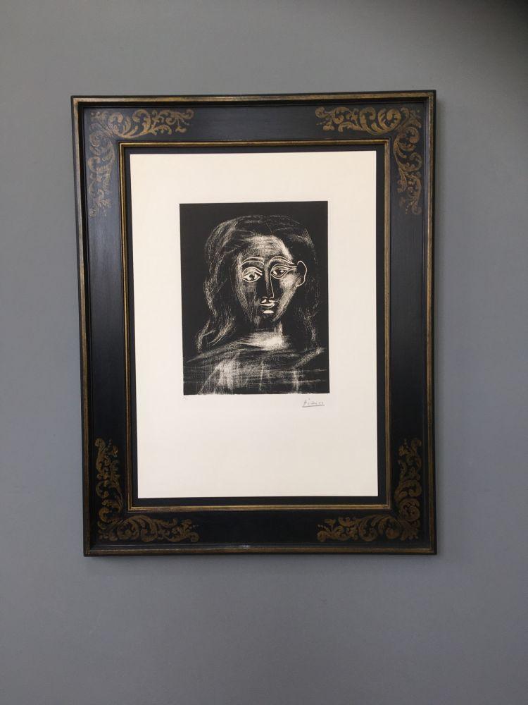 リノリウム彫版 Picasso -  Jacqueline aux chevaux flous, en buste