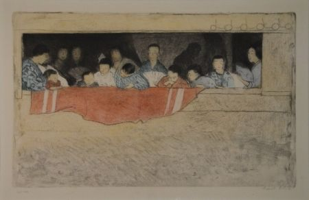 エッチング Orlik - Japanische Kinder als Zuschauer bei einem Umzug