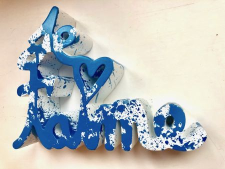多数の Mr. Brainwash - Je t`aime Splash blue sculpture