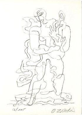 リトグラフ Zadkine - Jean Cassou: vingt-deux poèms