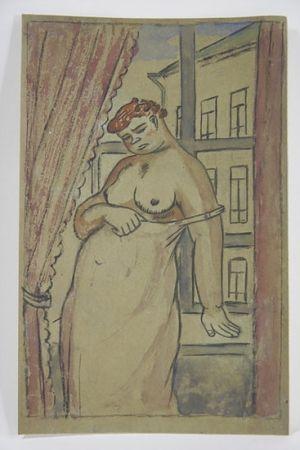 技術的なありません Lébédeff  - Jean Lébédeff (1884-1972). Femme à la fenêtre. Encre et aquarelle.