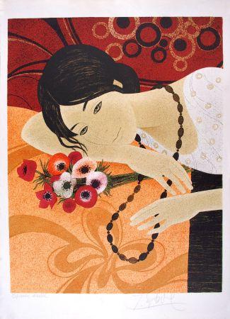 リトグラフ Ganne - Jeune femme au bouquet