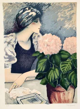 リトグラフ Cassigneul  - Jeune Femme au Hortensia