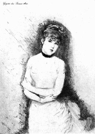 エッチング De Nittis - Jeune femme décolletée