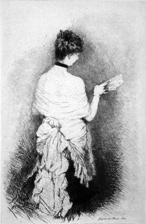 エッチング De Nittis - Jeune femme vue de dos