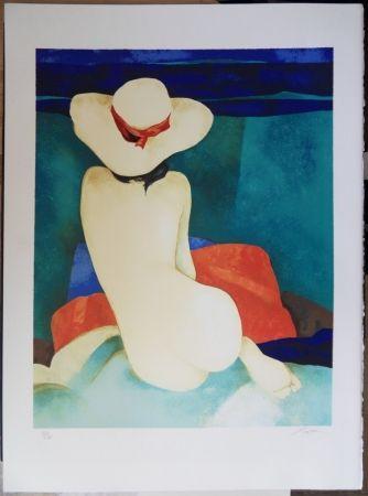 リトグラフ Gaveau - Jeune fille au chapeau