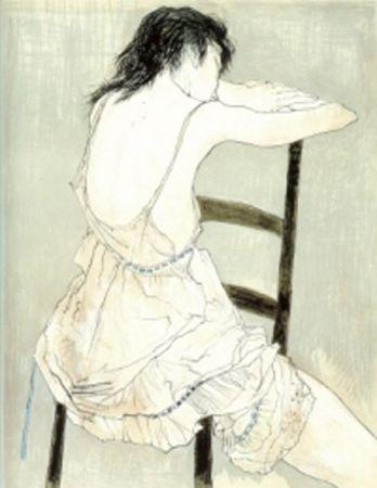 リトグラフ Jansem - Jeune Fille au Jupon Rose