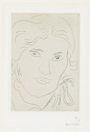 彫版 Matisse - Jeune fille de face, flot de ruban sur l'épaule gauche