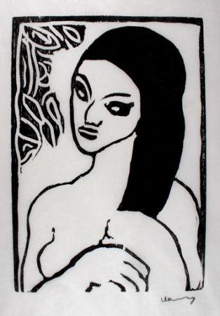 木版 Vlaminck - Jeune Fille se Coiffant