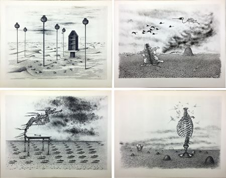 挿絵入り本 Toyen - Jindrich Heisler : CACHE-TOI GUERRE ! Poème. Cycle de 9 dessins de Toyen de 1944