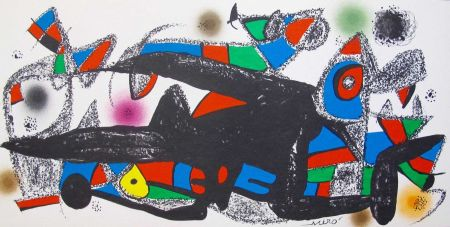 リトグラフ Miró - Joan Miro - Miró Escultor . Dinamarca 40 X 20 Cm.firmada En Plancha