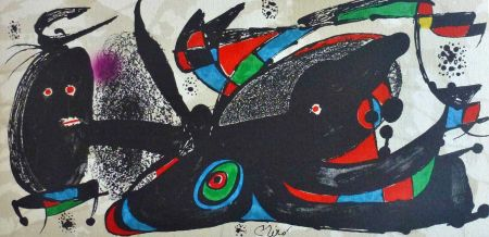 リトグラフ Miró - Joan Miro - Miró Escultor . Gran Bretaña 40 X 20 Cm.firmada En Plancha