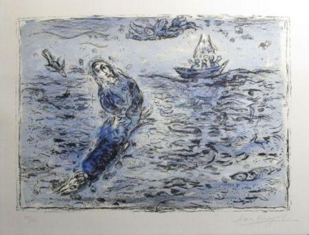リトグラフ Chagall - Jonas Sur Fond Bleu