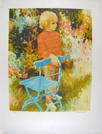 リトグラフ Kitslaar - Jongetje bij stoel