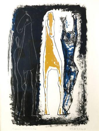 リトグラフ Marini - Jongleur Et Deux Chevaux