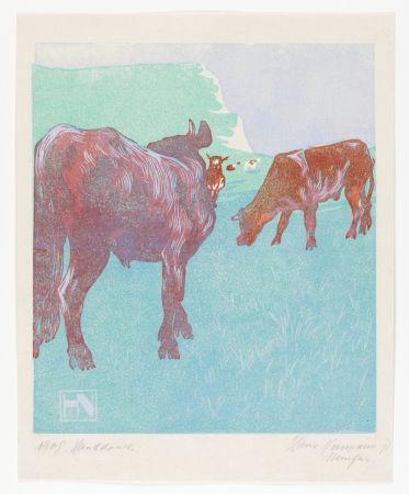 木版 Neumann - Jungbullen auf der Weide (Young bulls in the pasture)