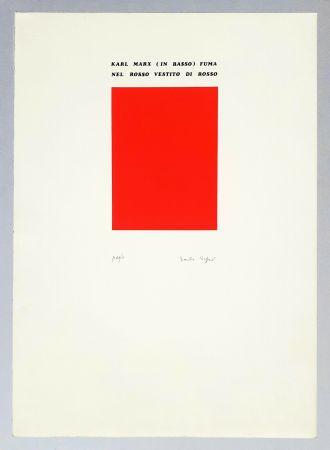 シルクスクリーン Isgro - Karl Marx (in basso) fuma nel rosso vestito di rosso