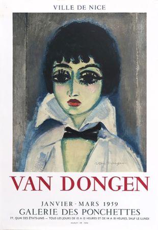リトグラフ Van Dongen - Kees Van Dongen (1877-1968). Affiche Galerie des Ponchettes. 1959. Lithographie.