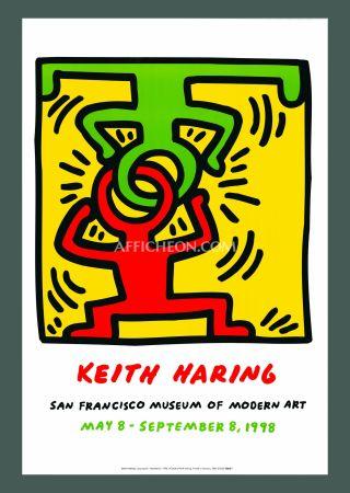 リトグラフ Haring - Keith Haring 'Headstand' 1998 Plate Signed Original Pop Art Poster with COA