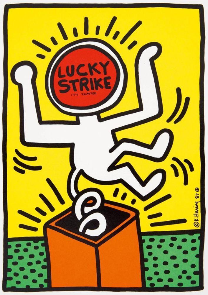 リトグラフ Haring - Keith Haring 'Lucky Strike II' 1987 Plate Signed Original Pop Art Poster with COA