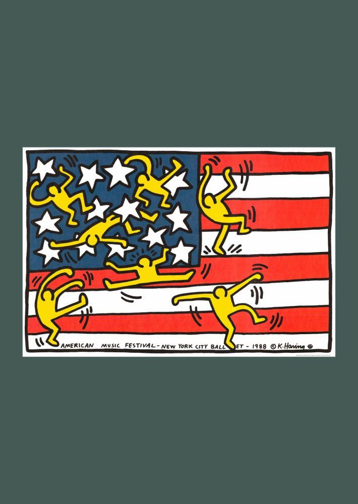 リトグラフ Haring - Keith Haring 'New York City Ballet' 1988 Plate Signed Original Pop Art Poster with COA