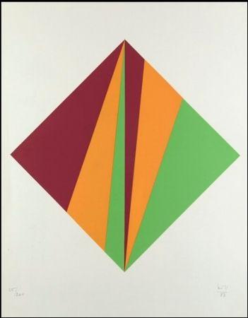 シルクスクリーン Bill - Komposition in Grün, Orange und Rot