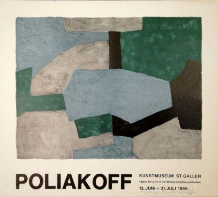 リトグラフ Poliakoff - Komposition in Grau, Grün und Blau / Composition grise, verte et bleu / Composition in grey, green and blue