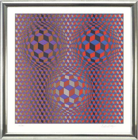 リトグラフ Vasarely - Komposition In Rot Und Violett