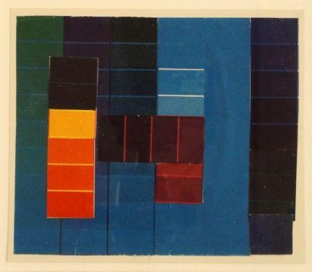 モノタイプ Itten - Komposition mit Farbkontrasten aus Blau/Grün/Violett und Rot/Gelb