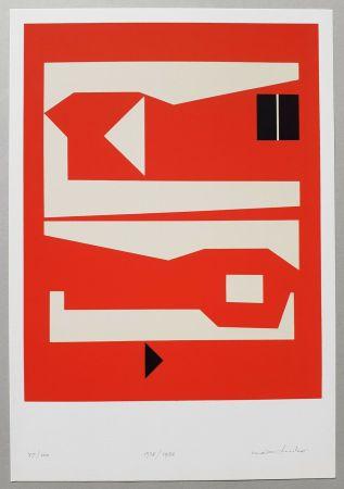 シルクスクリーン Huber - Komposition rot-weiss-schwarz