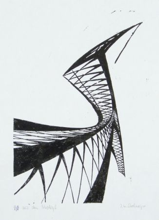 リノリウム彫版 Strohmeyer - Kran (Crane)
