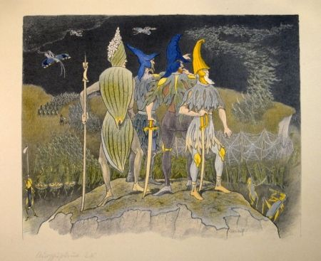 """リトグラフ Kreidolf - """"Krieg"""" Germer-, Rittersporn, blauer und gelber Eisenhut-Ritter stehen als Feldherren auf einem Hügel über einem vorüberziehenden Heuschrecken-Heer."""