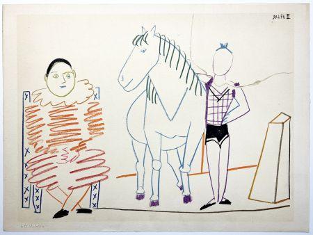 リトグラフ Picasso - L'écuyère, le cheval et le clown (La Comédie Humaine - Verve 29-30. 1954).