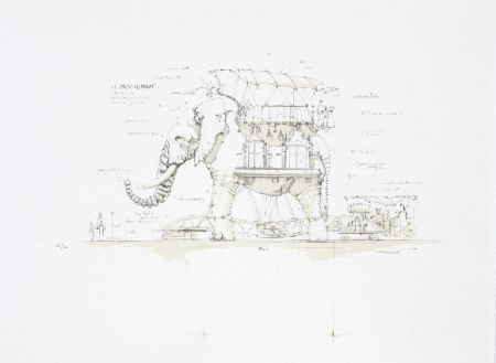 リトグラフ Delarozière - L'éléphant