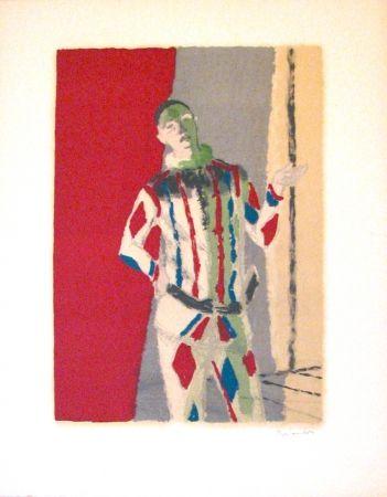 リトグラフ Brianchon - L' arlequin, from Souvenirs de Portraits d'Artistes - Jacques Prévert: Le coeur à l'ouvrage