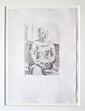 彫版 Picasso -  L' Italienne (s. ta130) Femme au Livre