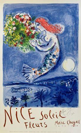 リトグラフ Chagall - La Baie des Anges (Nice Soleil Fleurs)