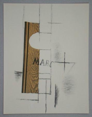 ステンシル Braque - La Bouteille De Marc - Papier Collé, 1913