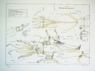 リトグラフ Delarozière - La Calamar à retropropulsion