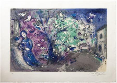 リトグラフ Chagall - LA CHASSE AUX OISEAUX (The bird chase). Daphnis et Chloé. 1961