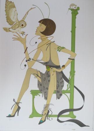 リトグラフ Noyer - La chouette
