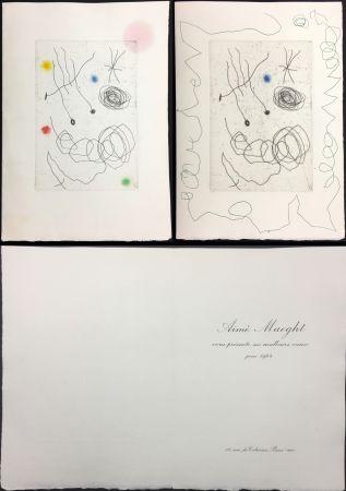 エッチングと アクチアント Miró - LA CHOUETTE ET L'ESCARGOT (Maeght, Vœux pour 1964). 2 états.