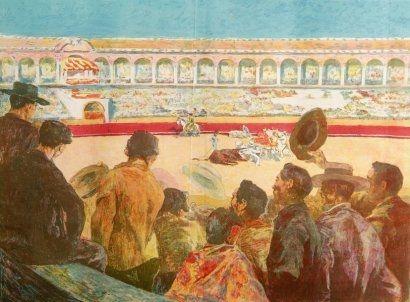 リトグラフ Lunois - La Corrida:  L'enlèvement du taureau (Taking Away the Bull)